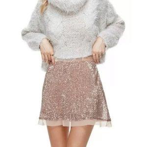 NWT Free People Wild Child Rose Sequin Mini Skirt